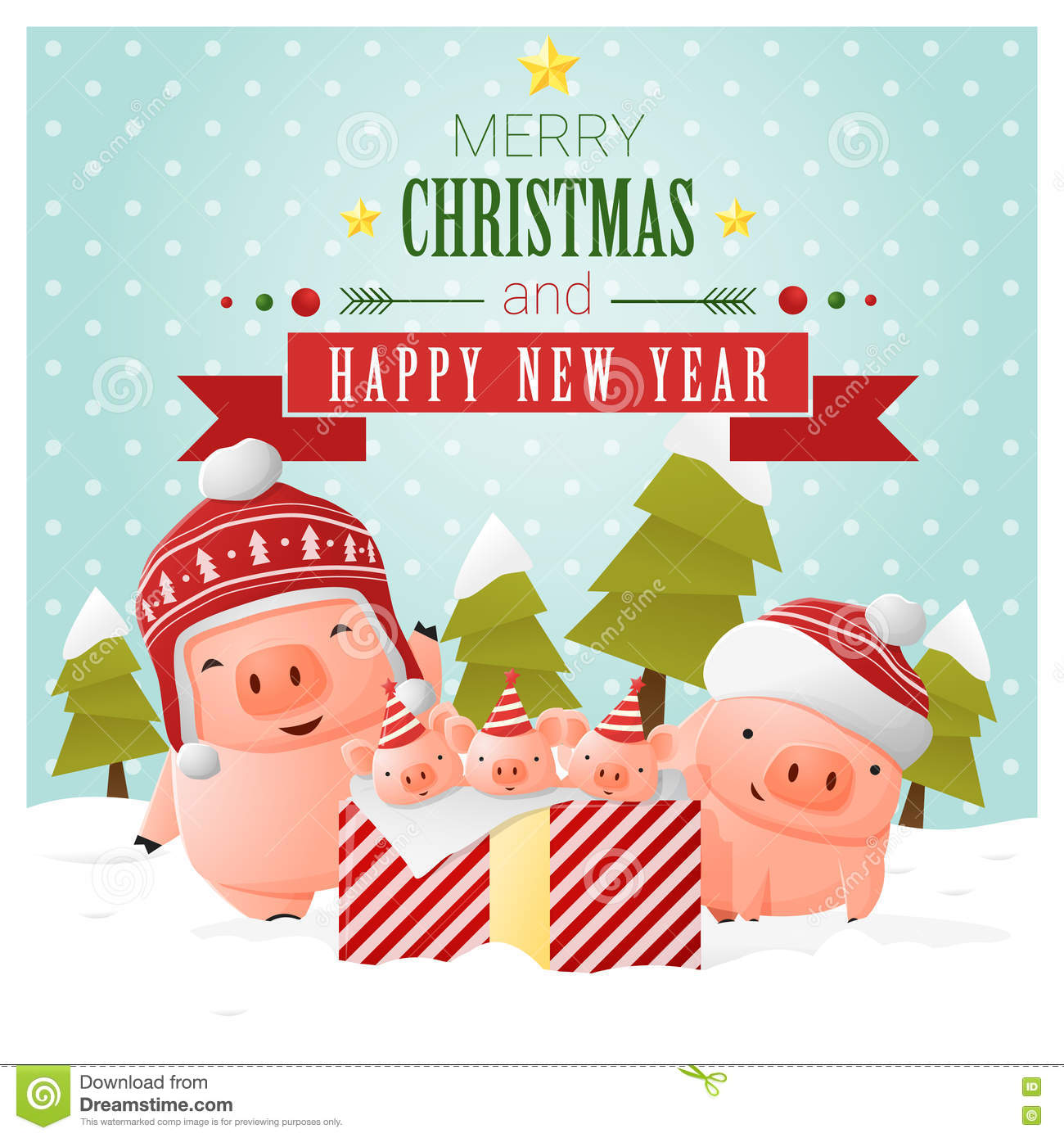 merry christmas and happy new year greeting card with pig family