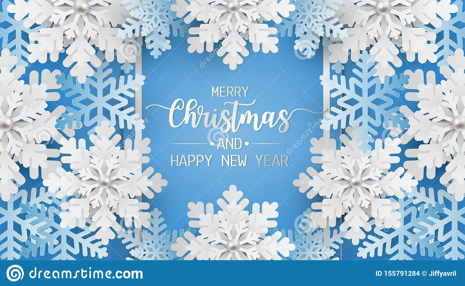 Merry christmas and happy new year greeting card, postcard with snowflake on blue background