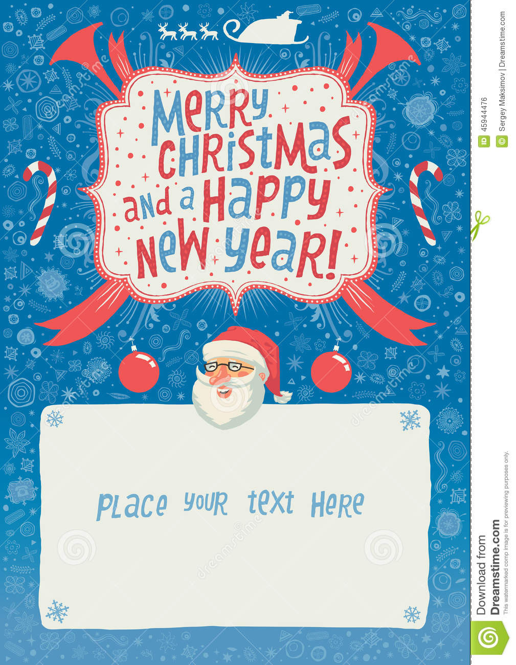Merry christmas and a happy new year greeting card poster or merry christmas and a happy new year greeting card poster or background for party invitation with hand lettering typography authors illustration m4hsunfo