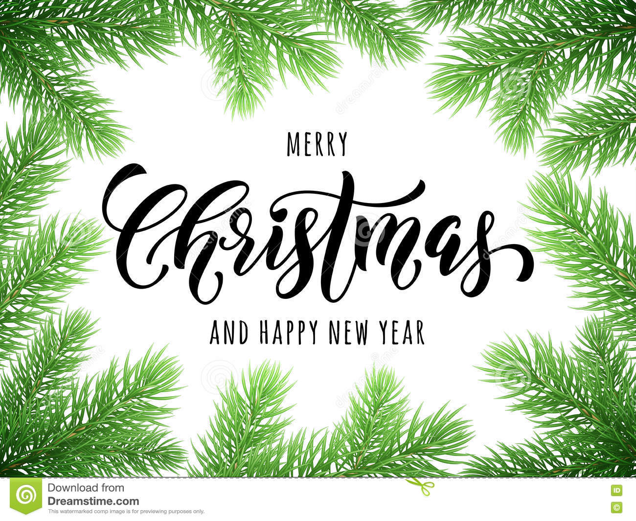 Merry Christmas Happy New Year Greeting Card Poster Stock