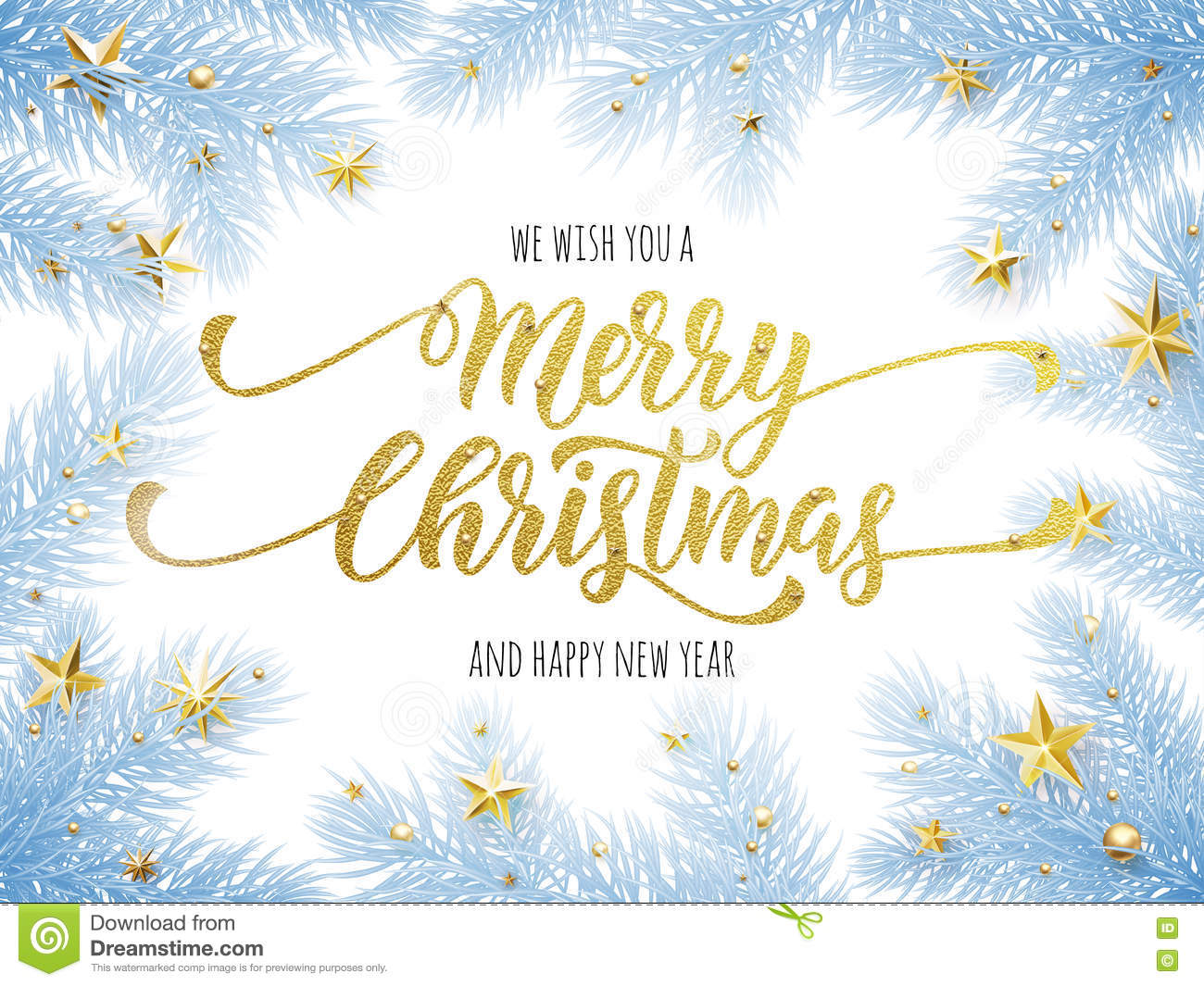 Merry Christmas, Happy New Year Greeting Card, Poster Stock ...
