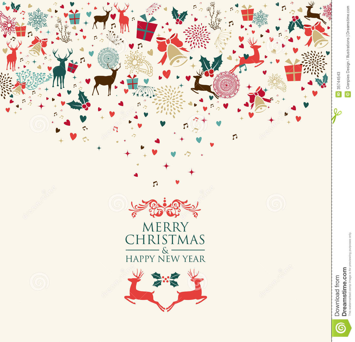 Merry Christmas And Happy New Year Greeting Card Stock Photos - Image: 35744543