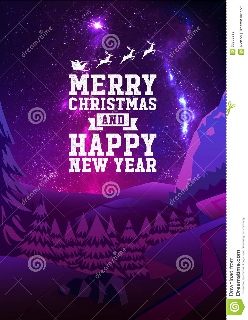 merry christmas and happy new year greeting card with