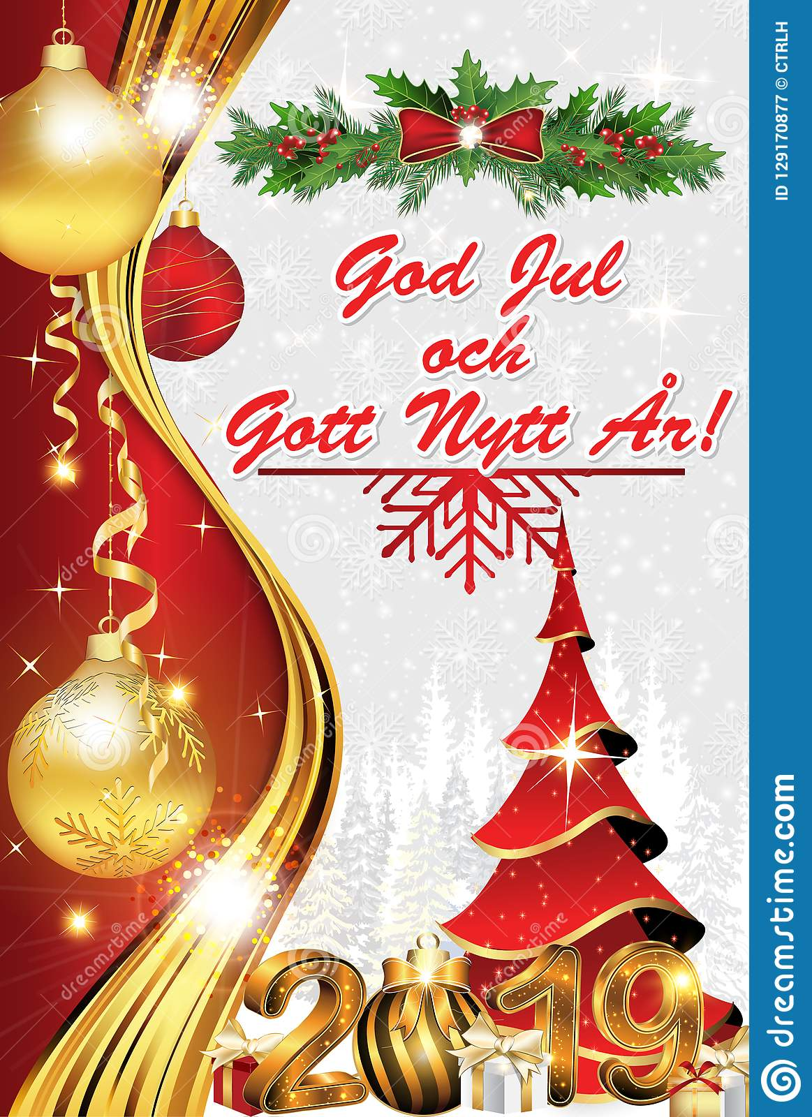 Buon Natale Meaning In English.Merry Christmas And Happy New Year Greeting Card In Swedish Stock