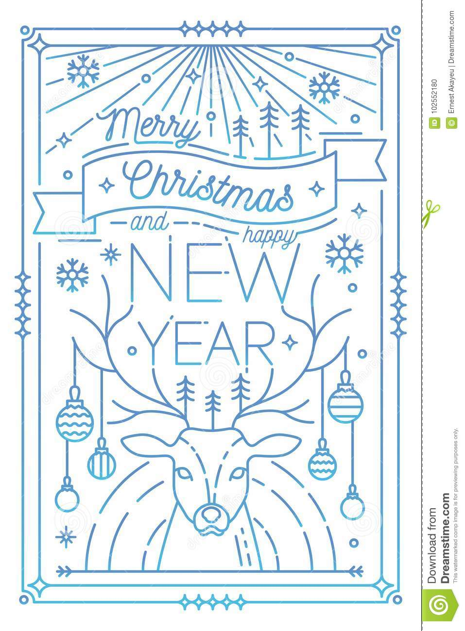 Merry Christmas And Happy New Year Greeting Card Template With ...