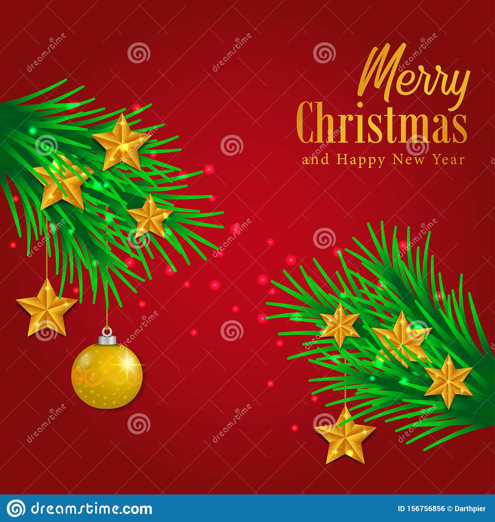 Merry Christmas And Happy New Year Greeting Card Template ...