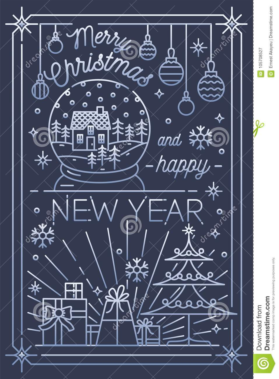 merry christmas and happy new year greeting card template snow