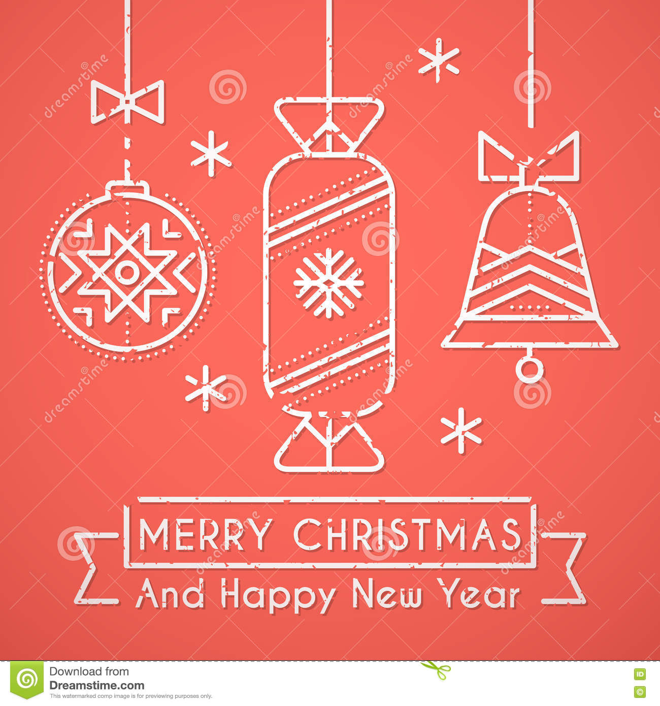 Merry Christmas And Happy New Year Greeting Card Template – New Year Greeting Card Template
