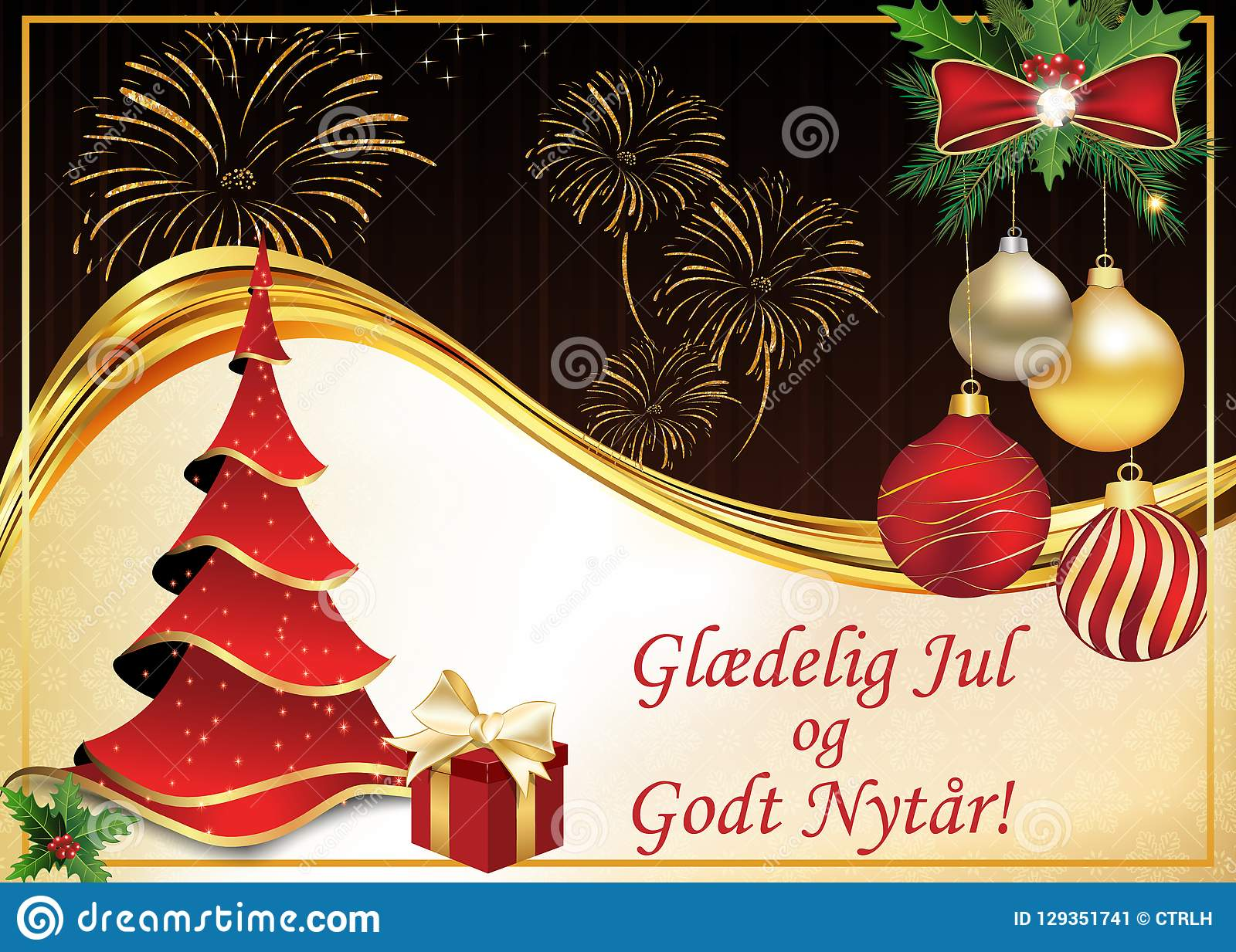 merry christmas and happy new year greeting card in danish