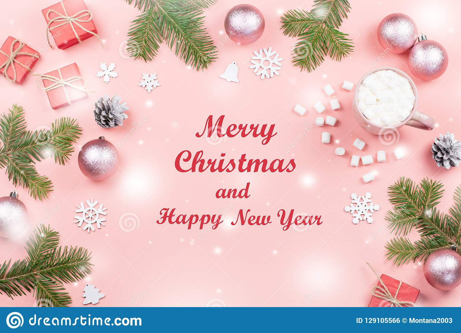 Merry Christmas And Happy New Year Greeting Card ...