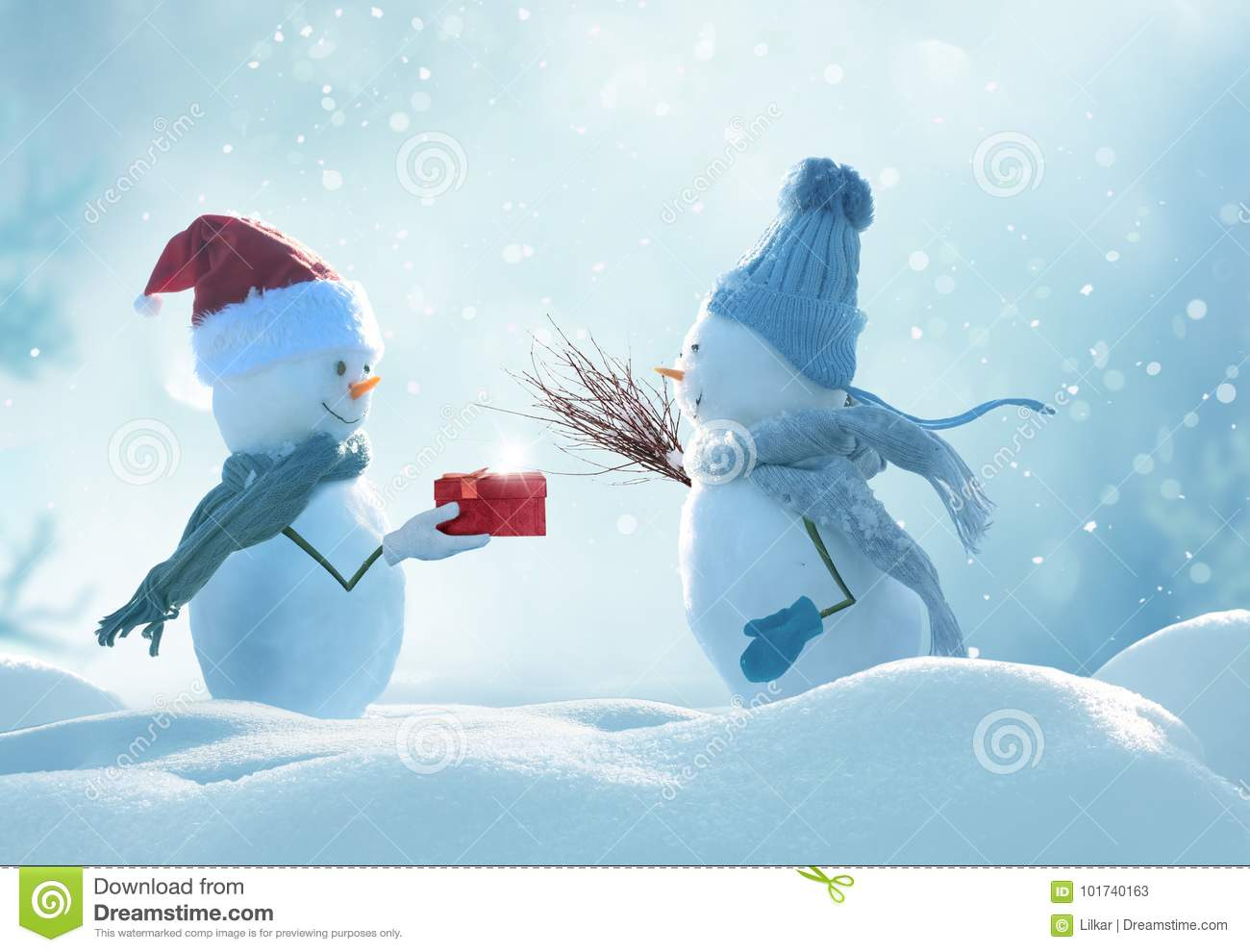 d28412ed1f090 Two Cheerful Snowmen Standing In Winter Christmas Landscape. Stock ...