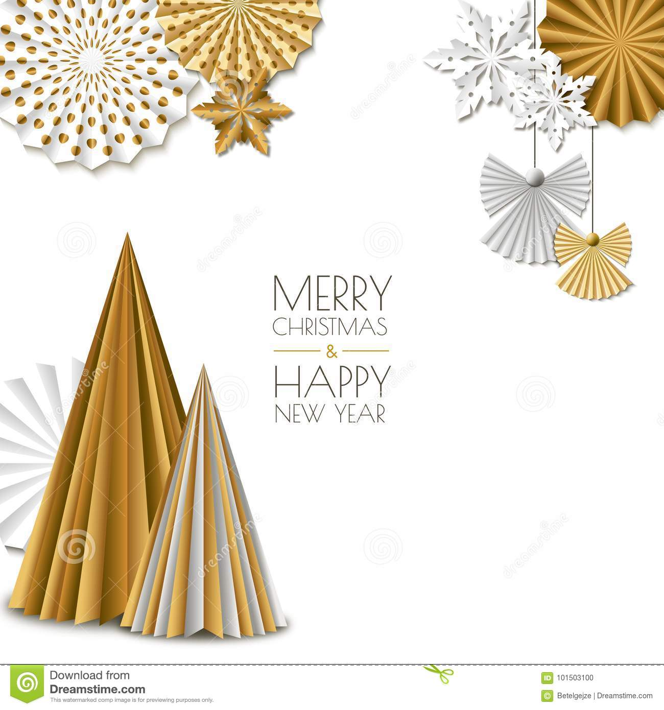 Merry Christmas, Happy New Year Greeting Card. Vector Golden Paper ...