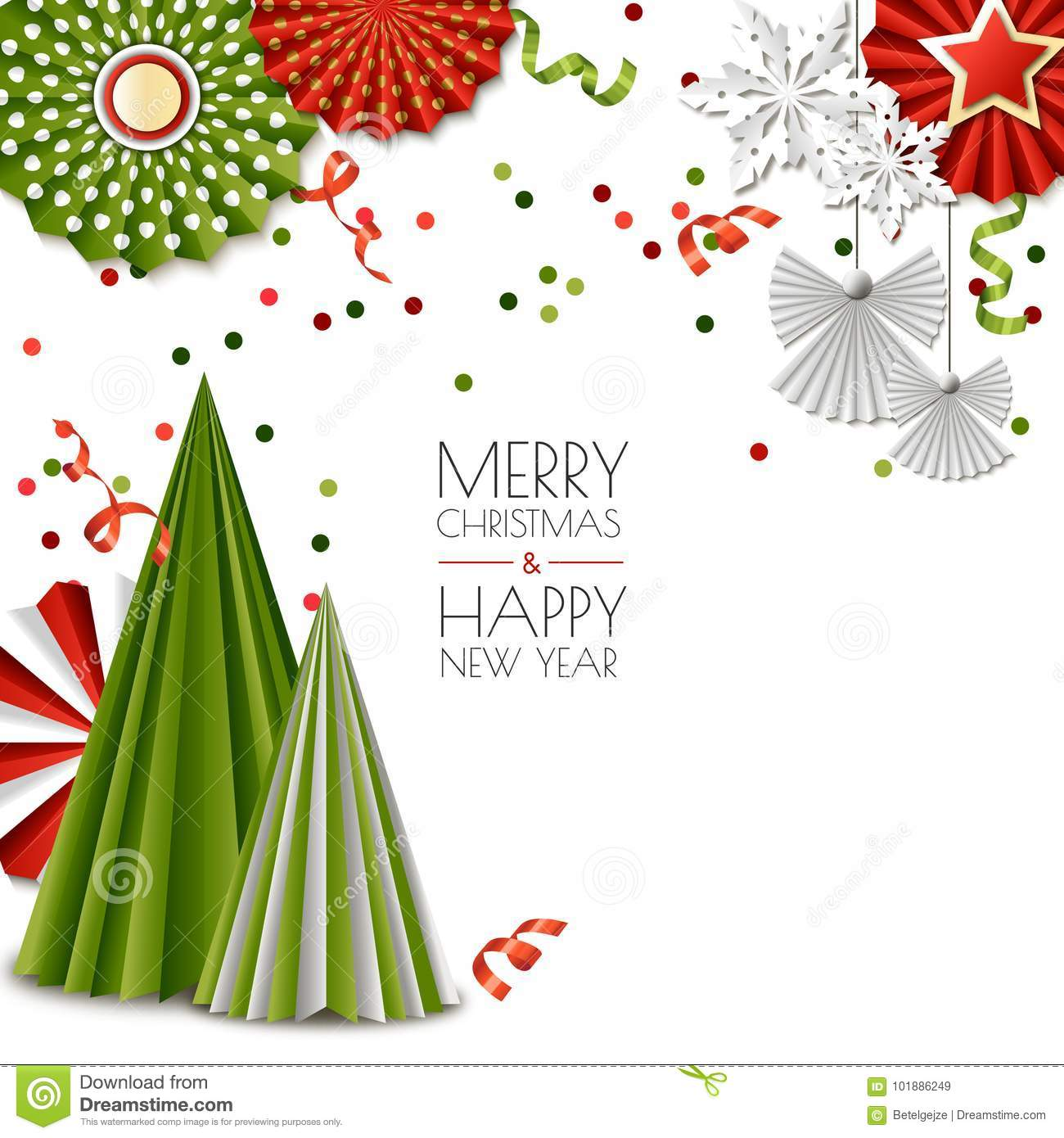 Merry Christmas, Happy New Year Greeting Card. Vector Green And Red ...