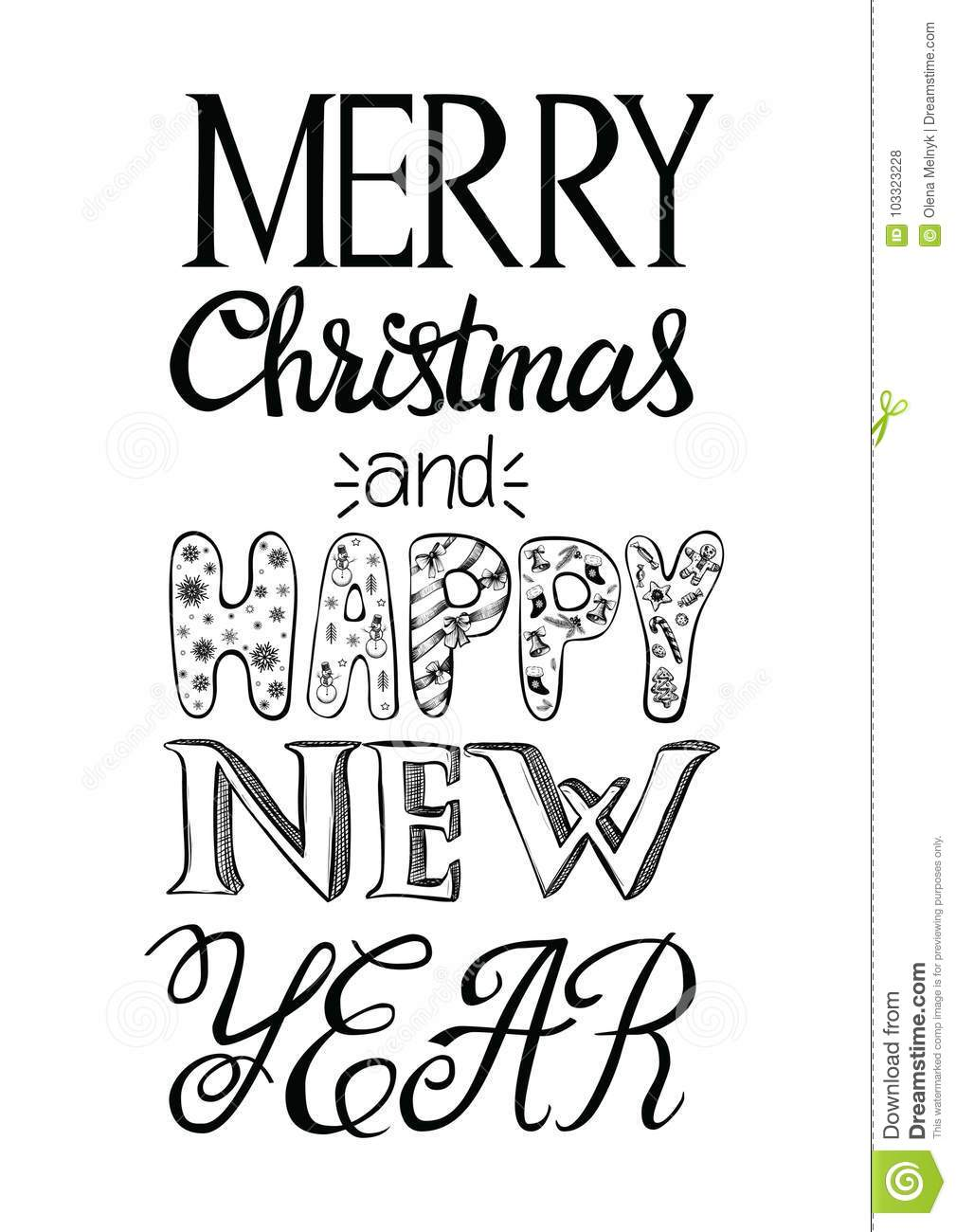 Merry christmas and happy new year greeting card vector merry christmas and happy new year greeting card christmas hand drawn postcard different types and patterns on letters vector illustration m4hsunfo