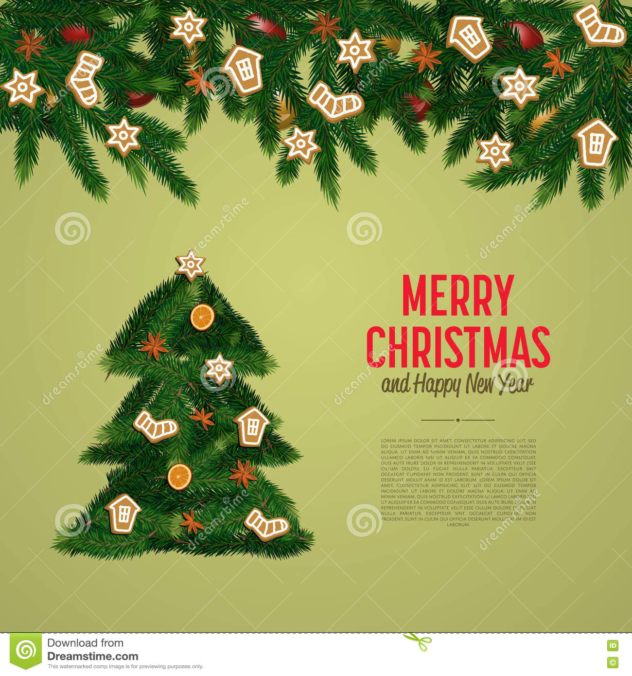 merry christmas and happy new year greeting card vector illustration xmas congratulation with decorated christmas tree and space for greeting message