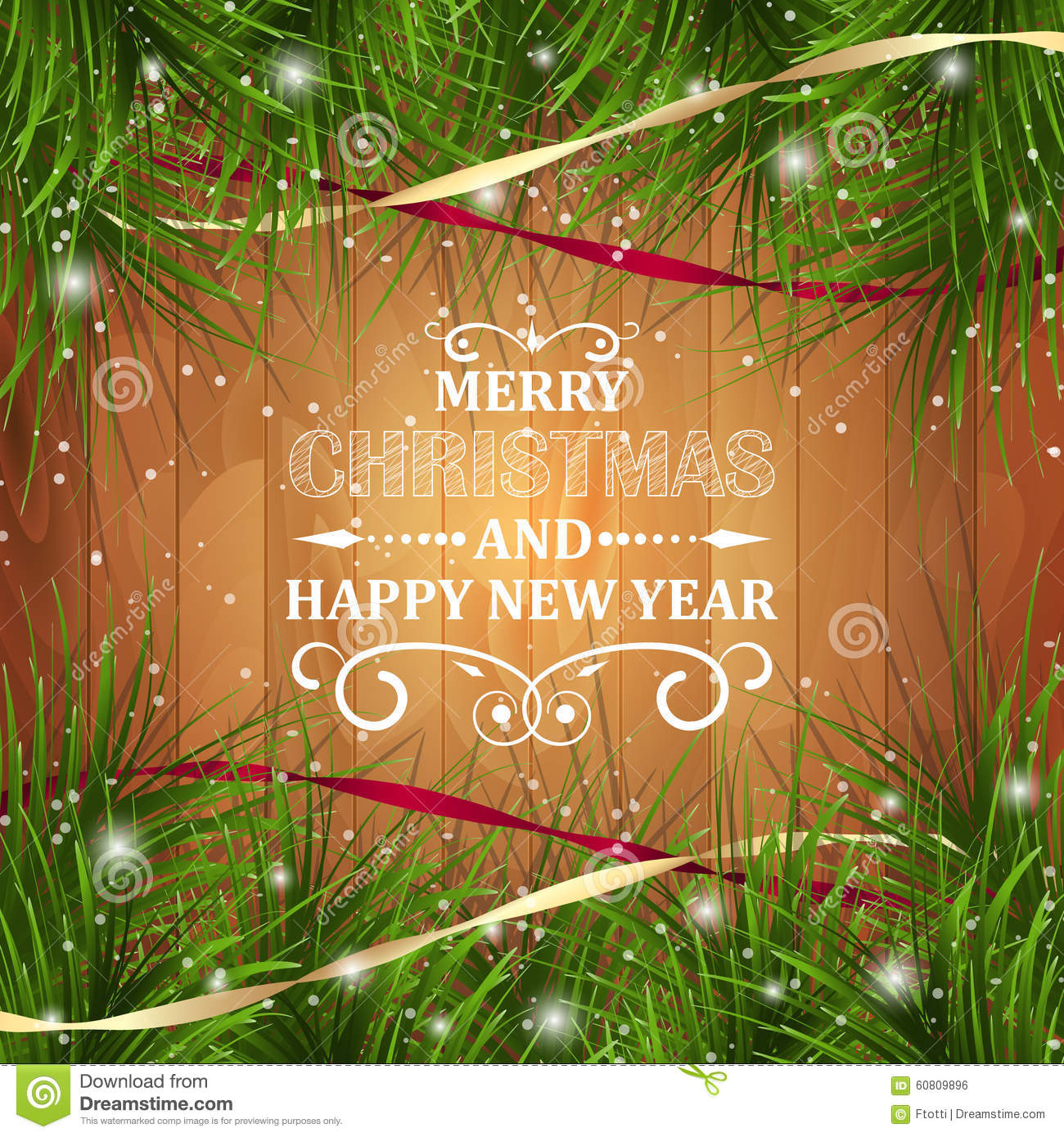 Merry Christmas And Happy New Year Greeting Card On Wooden Texture