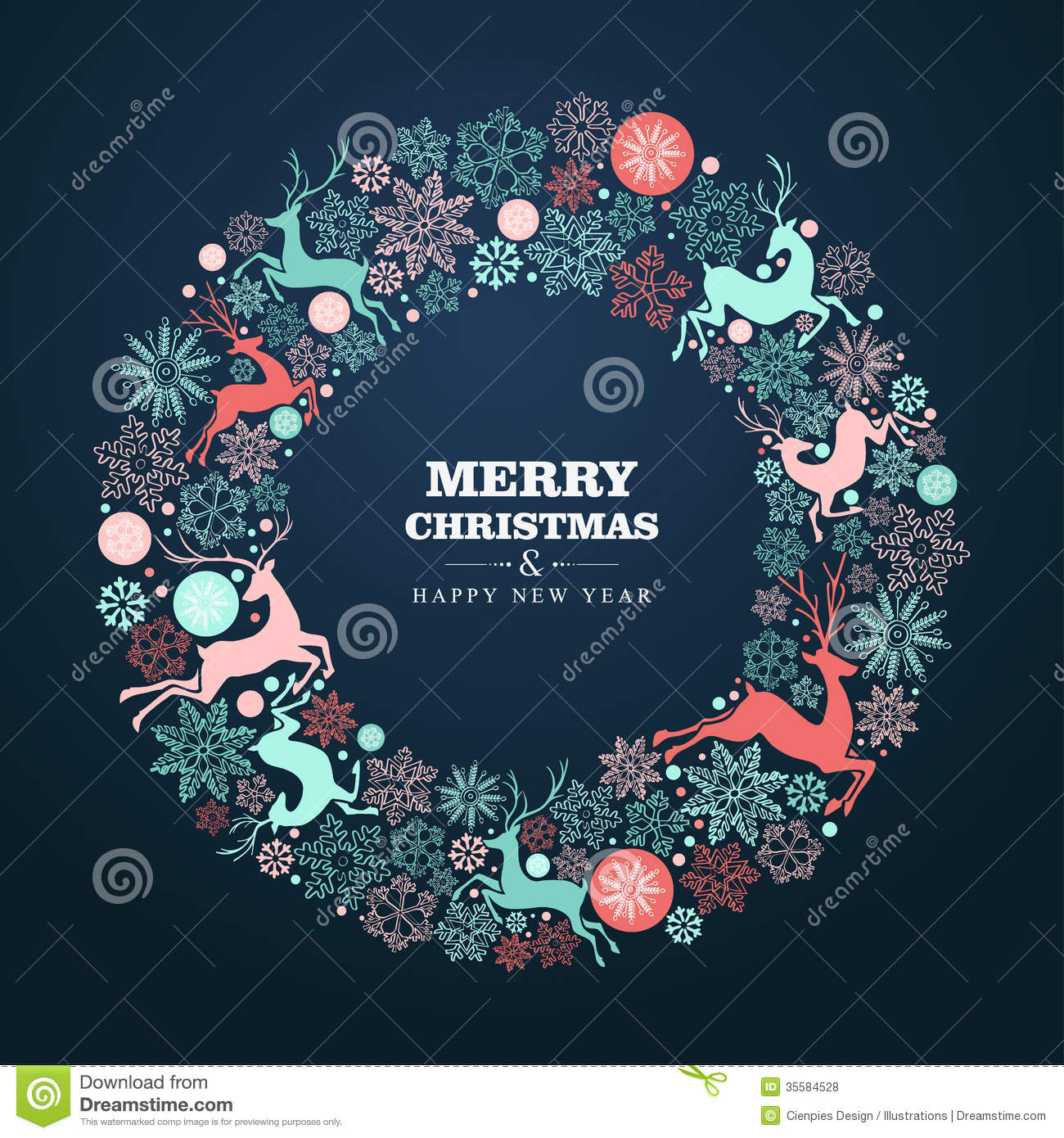 Merry Christmas And Happy New Year Greeting Card Stock ...