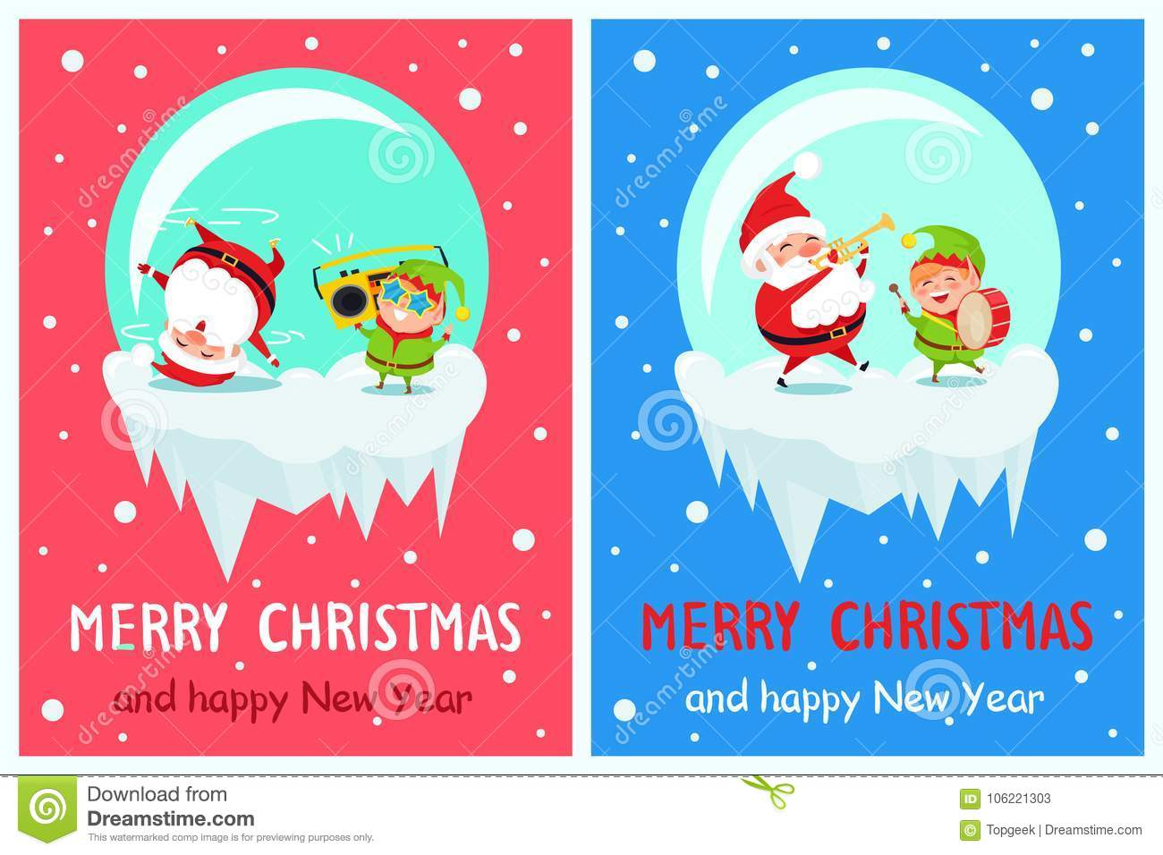 Merry christmas and happy new year greeting cards stock vector merry christmas and happy new year greeting cards m4hsunfo