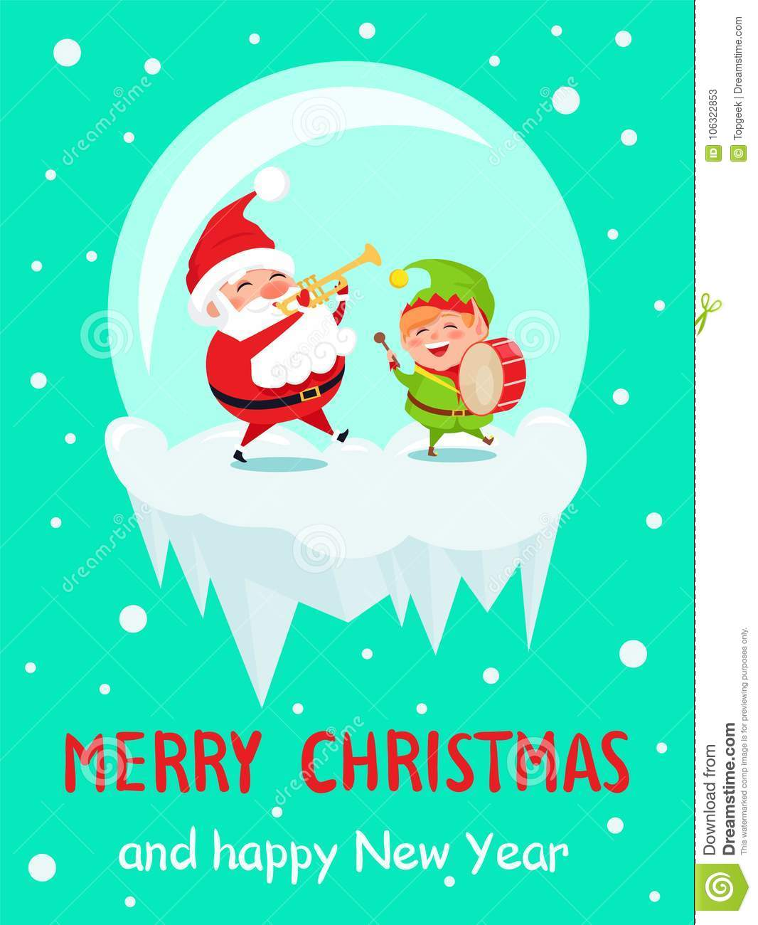 Merry Christmas And Happy New Year Greeting Cards Stock Vector