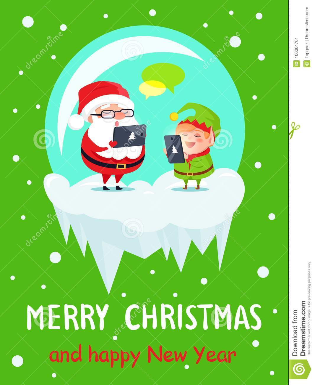 Merry Christmas And Happy New Year Greeting Cards Stock Vector ...