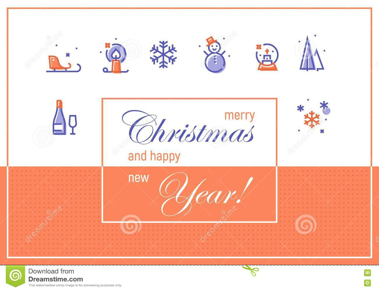 Merry Christmas And Happy New Year Greeting Cards Template Stock
