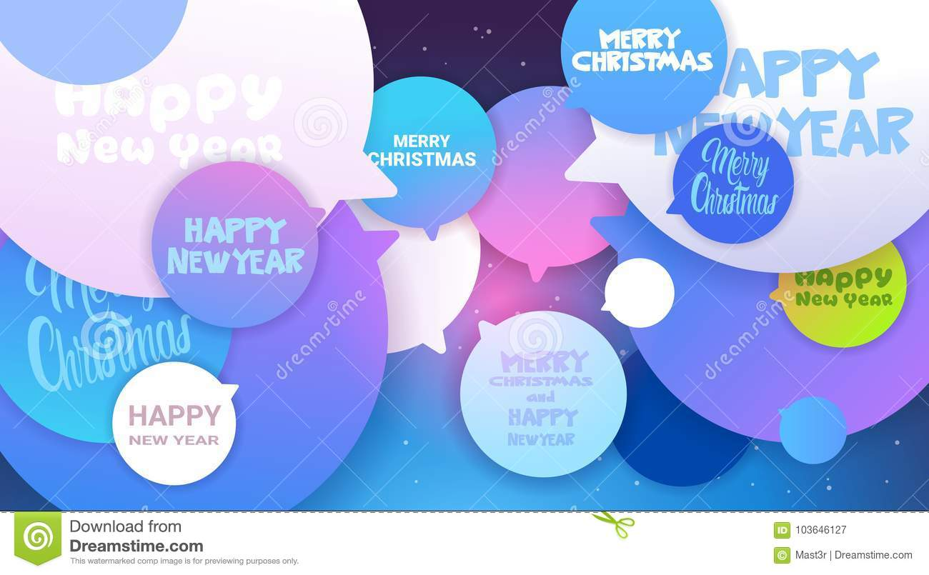 Merry Christmas And Happy New Year Greeting Messages On Chat Bubble
