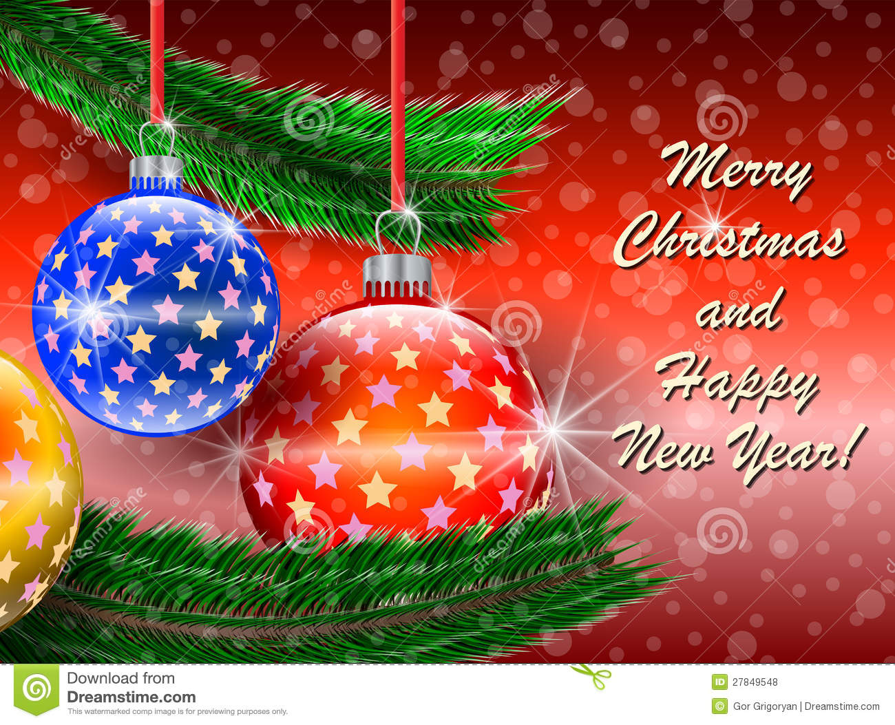Merry Christmas And Happy New Year Greetings Card Stock Vector