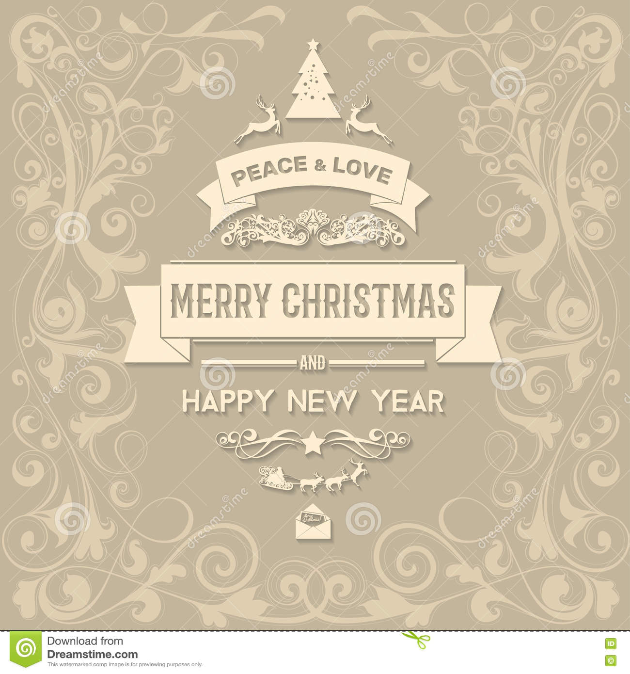 Merry Christmas And Happy New Year Greetings Card Stock Illustration