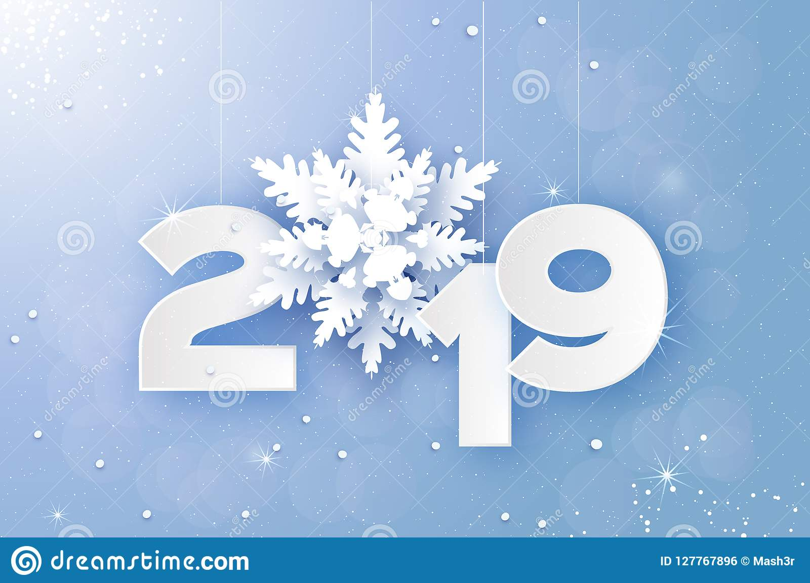 2019 merry christmas and happy new year greetings card white paper cut snowflakes