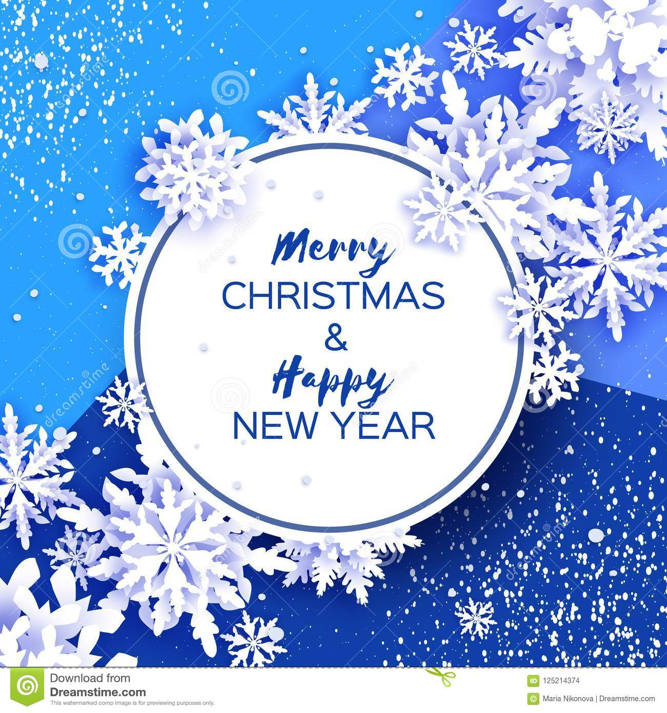 Merry Christmas And Happy New Year Greetings Card. White Paper Cut ...