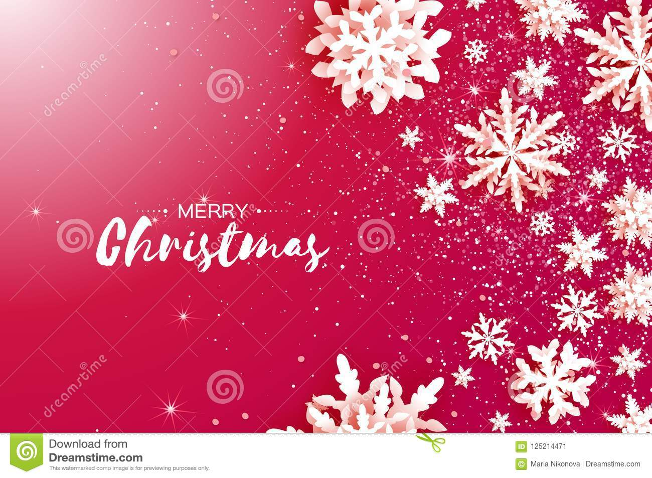 Merry Christmas And Happy New Year Greetings Card White Paper Cut