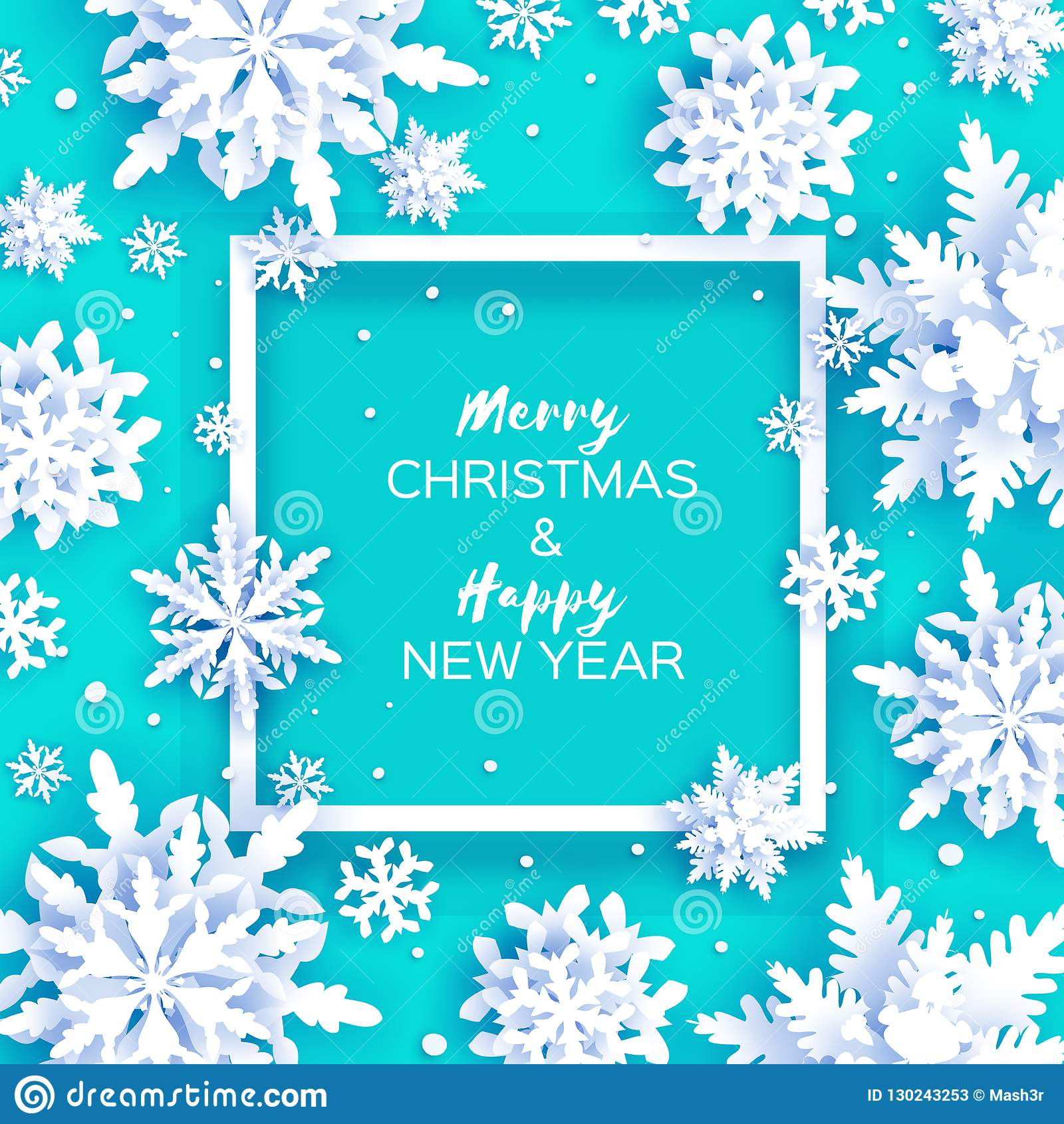 Merry Christmas And Happy New Year Greetings Card. White ...