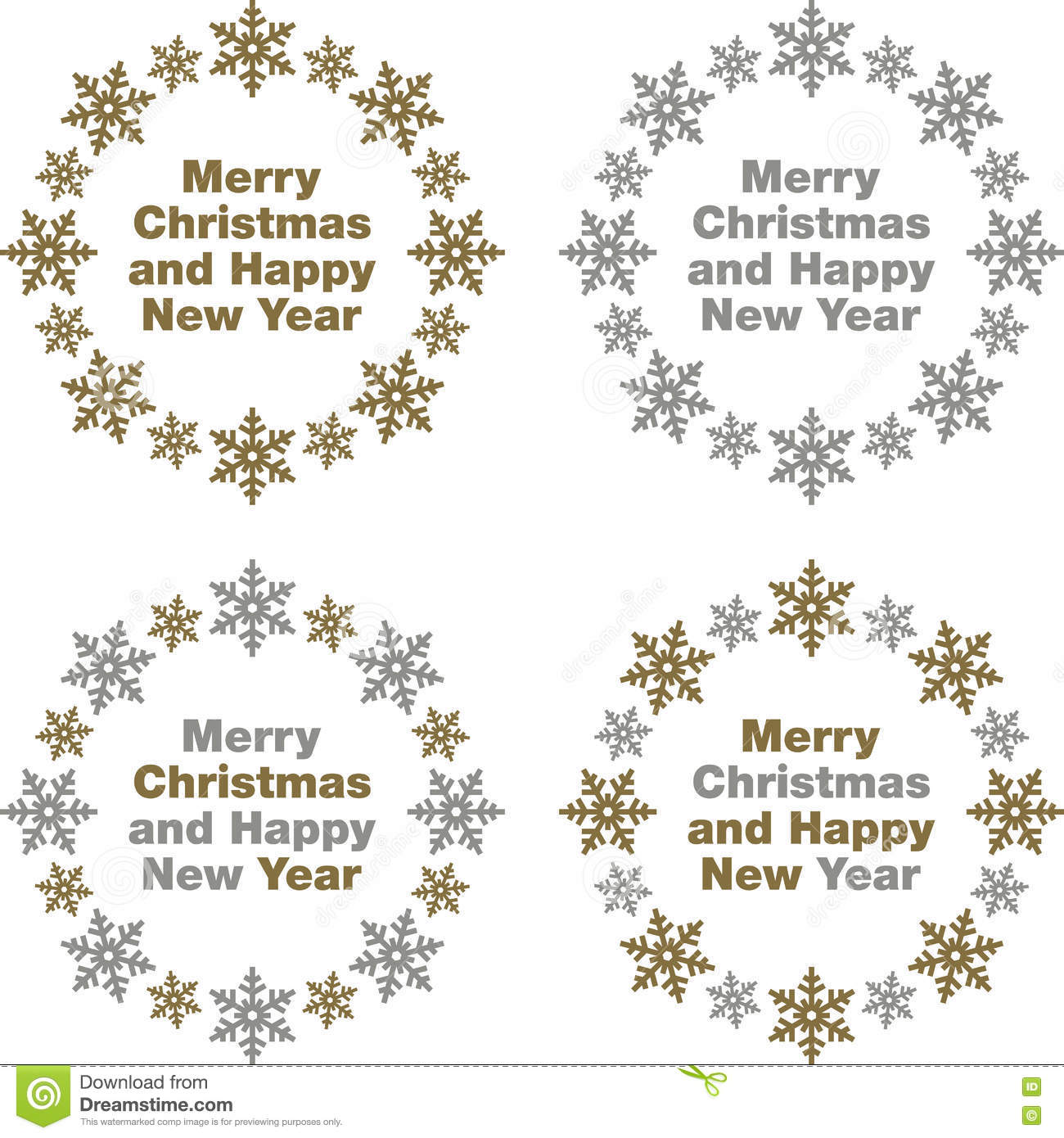 merry christmas and happy new year greetings in gold and silver snowflake border icons
