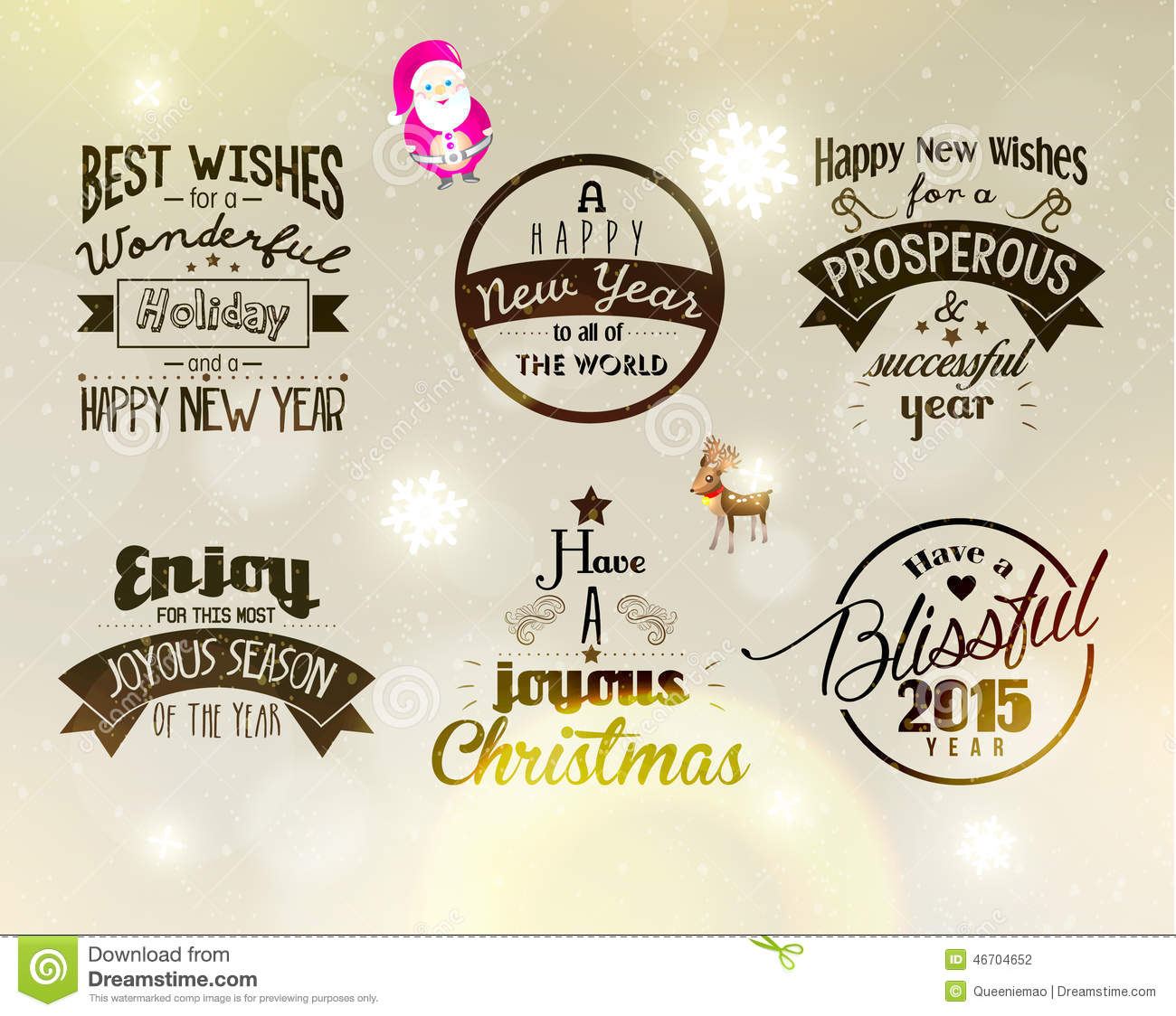 Merry Christmas And Happy New Year 2015 Greetings Stock Vector ...