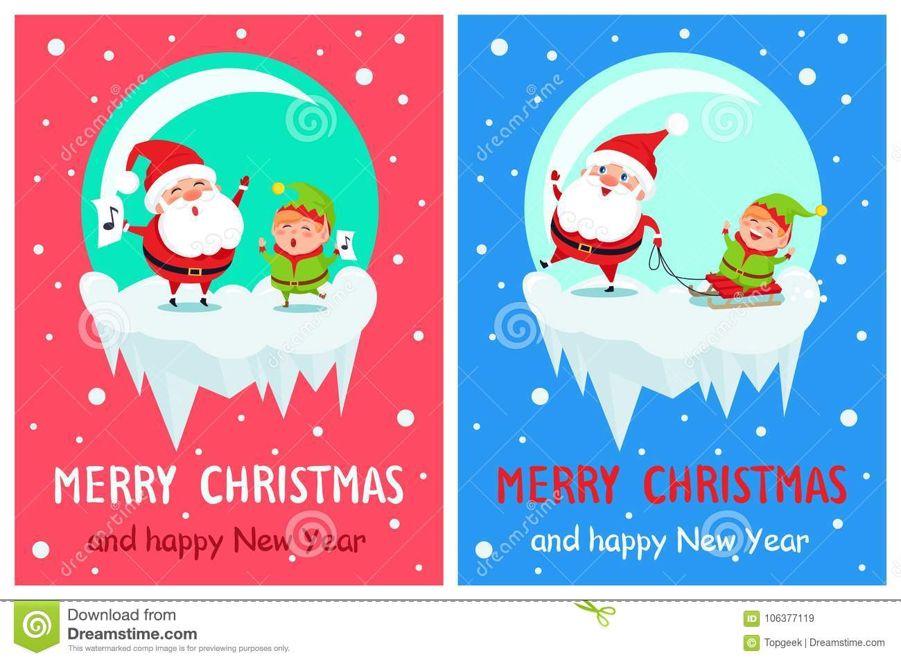merry christmas and happy new year greetings from singing santa and his fellow helper elf winter characters riding on sled vector illustration