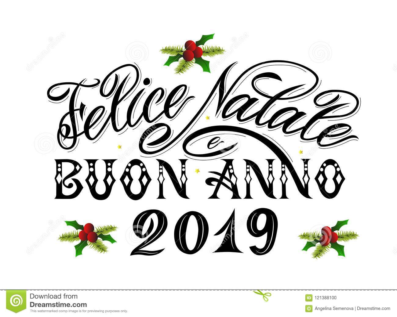 Merry christmas and happy new year 2019 greetings text in italian merry christmas and happy new year 2019 greetings text in italian language as postcard print banner poster modern calligraphy lettering m4hsunfo