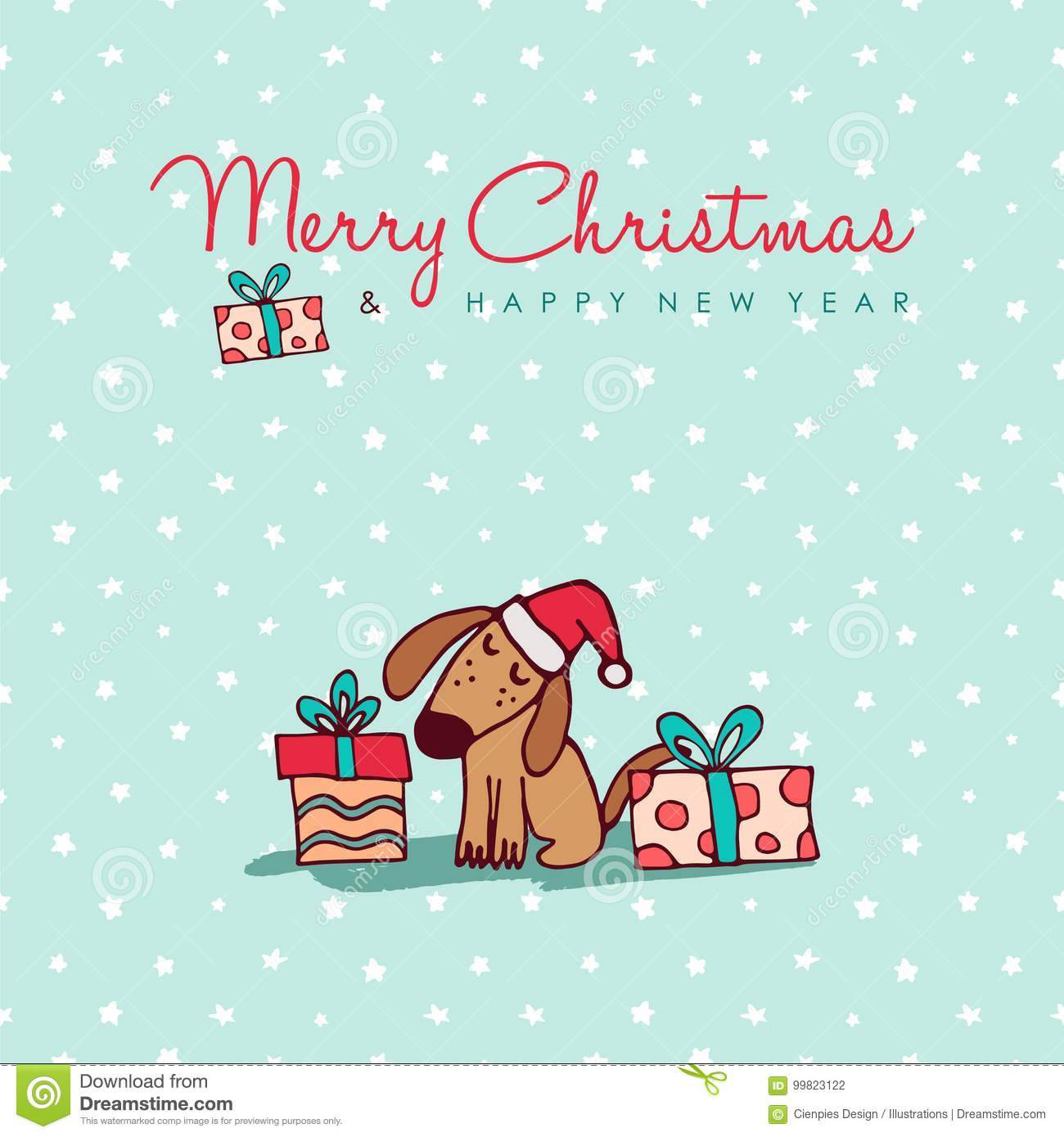 Christmas And New Year Cute Puppy Cartoon Card Stock Vector ...