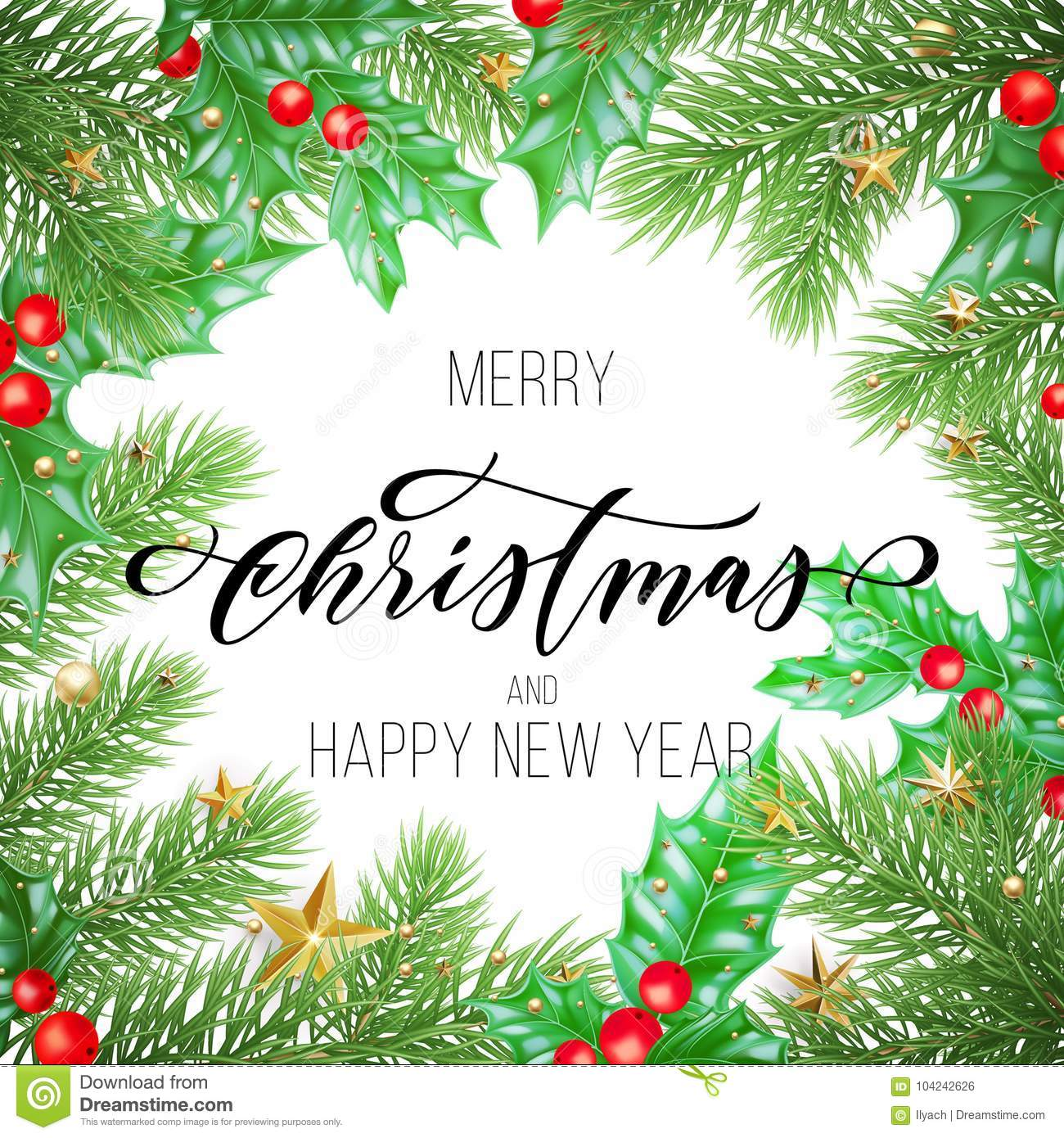Merry Christmas And Happy New Year Hand Drawn Quote Calligraphy On