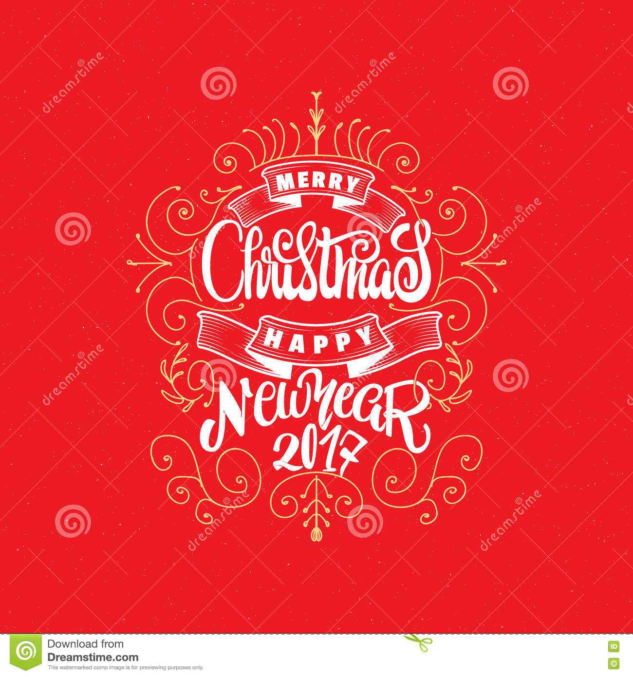 Merry Christmas And Happy New Year 2017 Hand Lettering Text