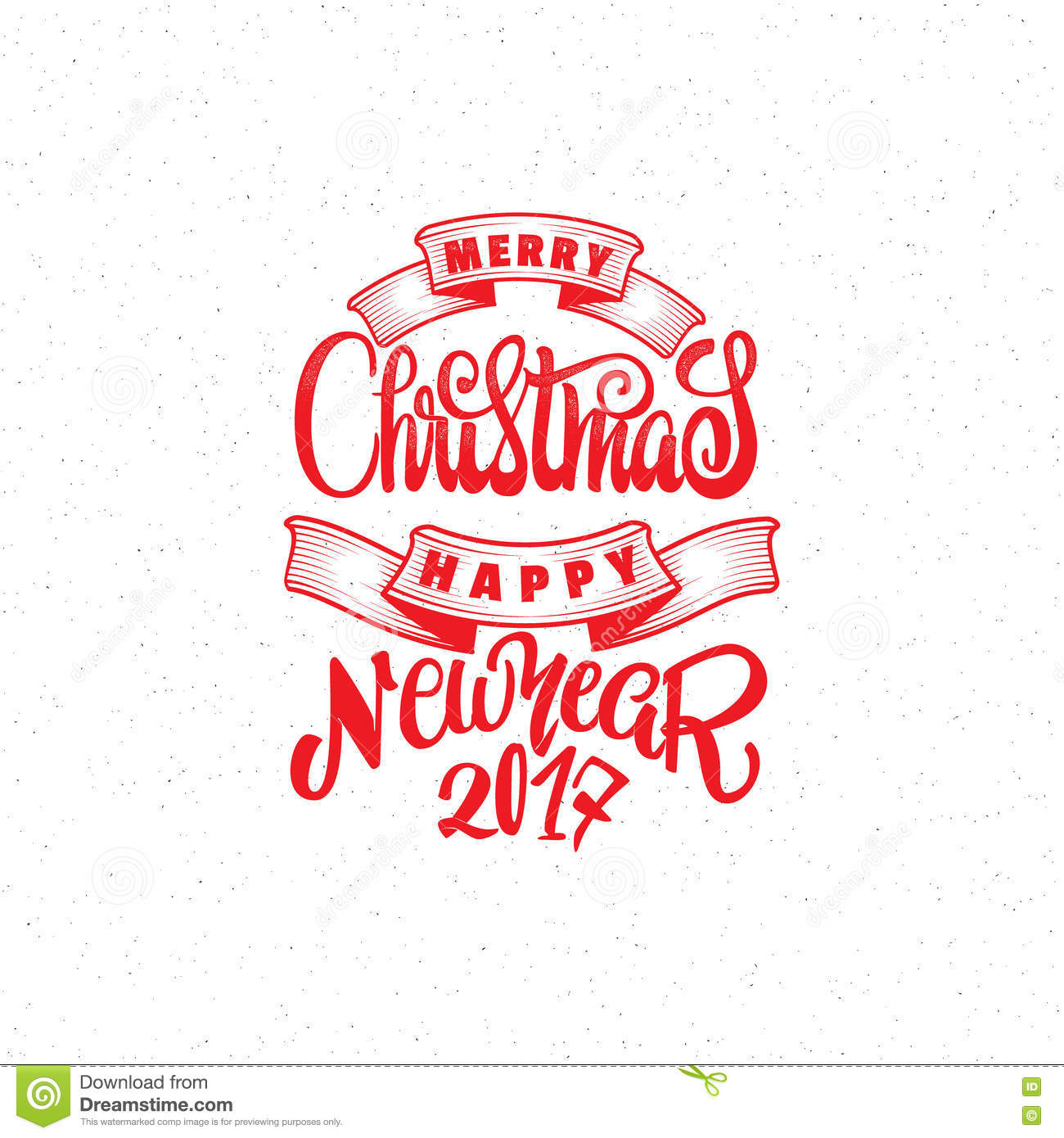 merry christmas and happy new year 2017 hand lettering text handmade vector calligraphy for your design