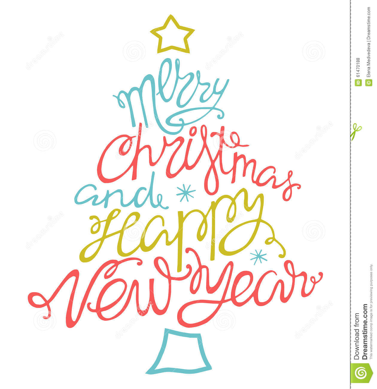 merry christmas and happy new yearhanddrawn
