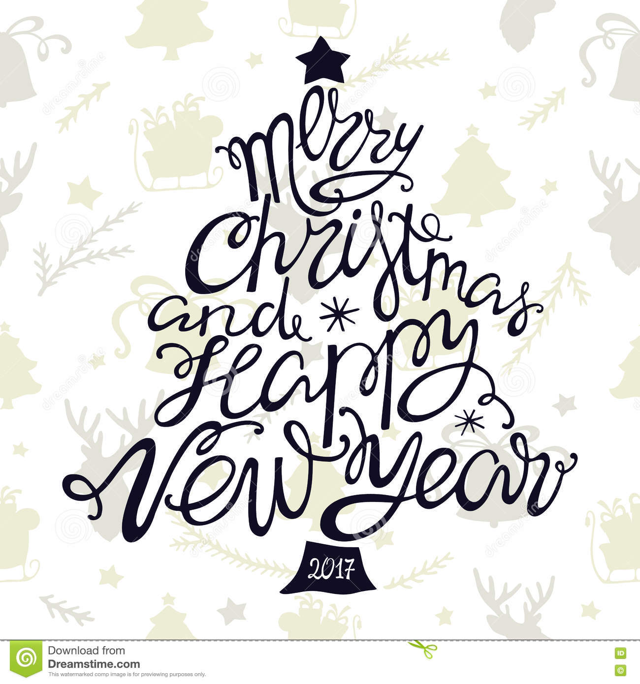 Merry Christmas And Happy New Year Handdrawn Lettering In The Shape