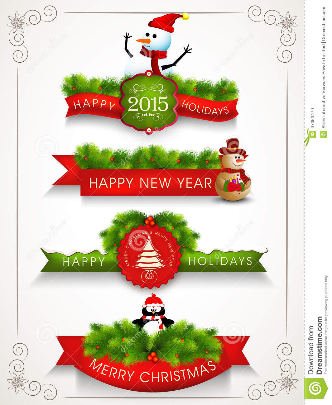 Holidays Celebrations: Merry Christmas, Happy New Year And Happy Holidays