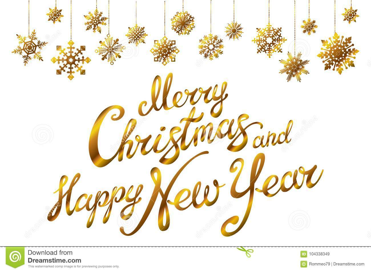 merry christmas and happy new year holiday vector illustration with lettering composition with snowflakes gold stock vector illustration of banner postcard 104338349 https www dreamstime com merry christmas happy new year holiday vector illustration lettering composition snowflakes gold merry christmas image104338349