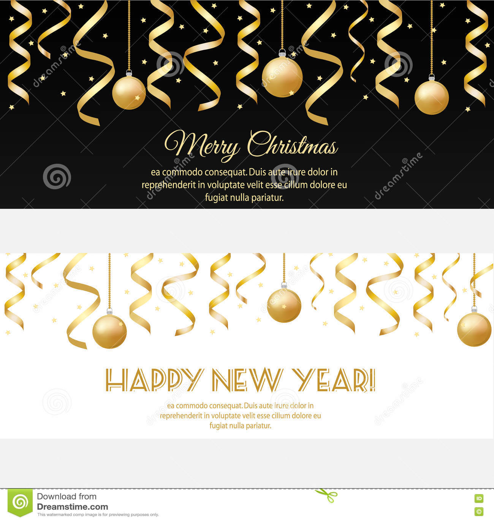 Merry christmas happy new year horizontal banners with golden download merry christmas happy new year horizontal banners with golden streamers and baubles stock vector stopboris Gallery