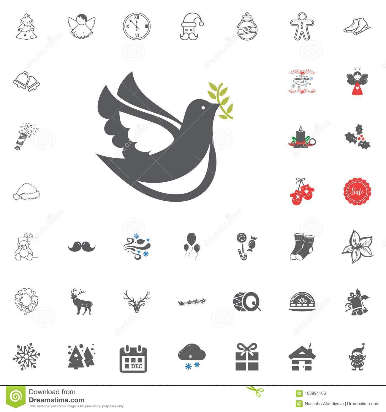Merry Christmas And Happy New Year Icon. Vector Illustration. Stock Illustration - Illustration ...