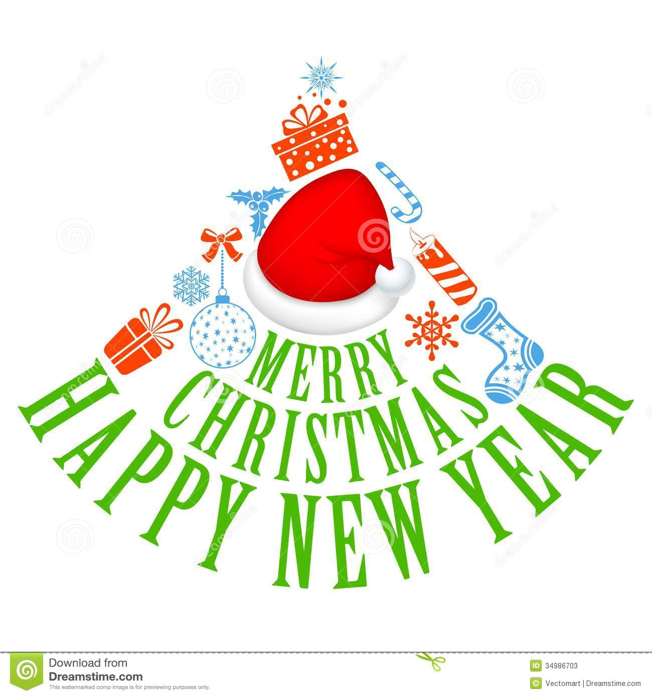Merry Christmas And Happy New Year Stock Photos - Image: 34986703