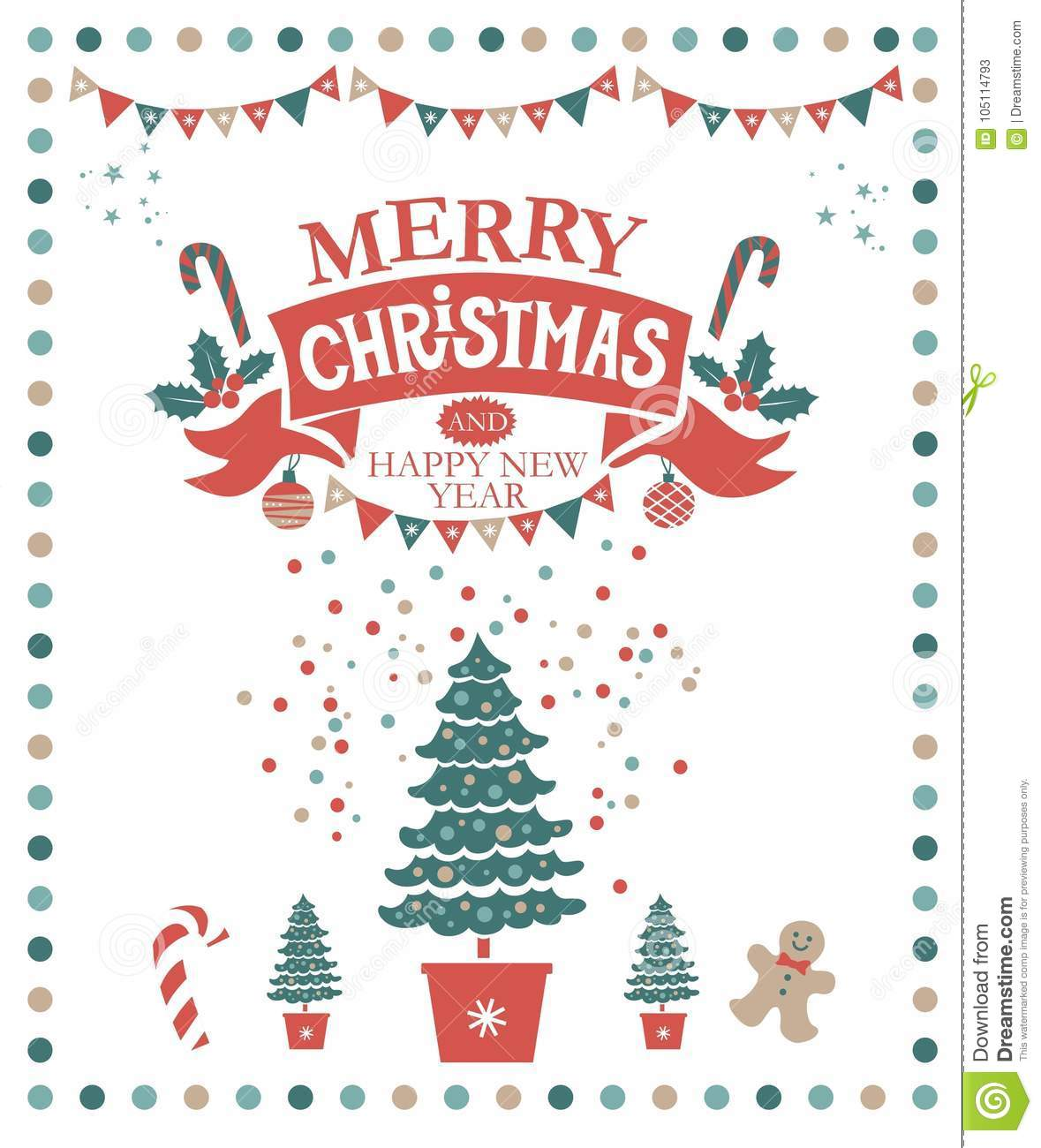 69ba54cf4616 Lettering merry Christmas and a Happy New year on a red ribbon and festive  decorations: garland, socks with presents, sweets, Christmas decorations.