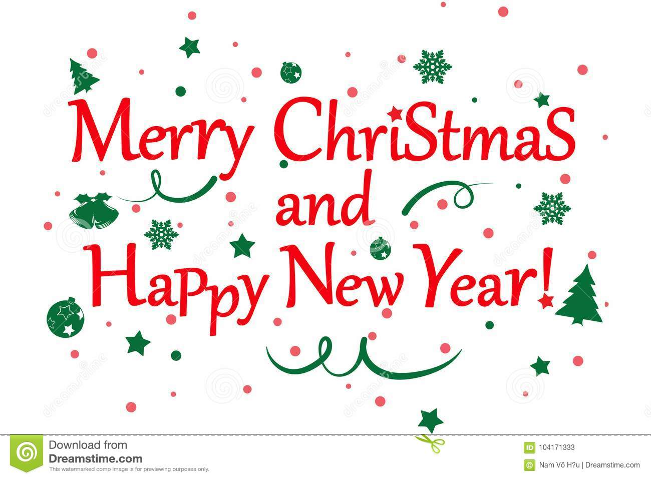 Merry Christmas And Happy New Year Illustration Stock ...
