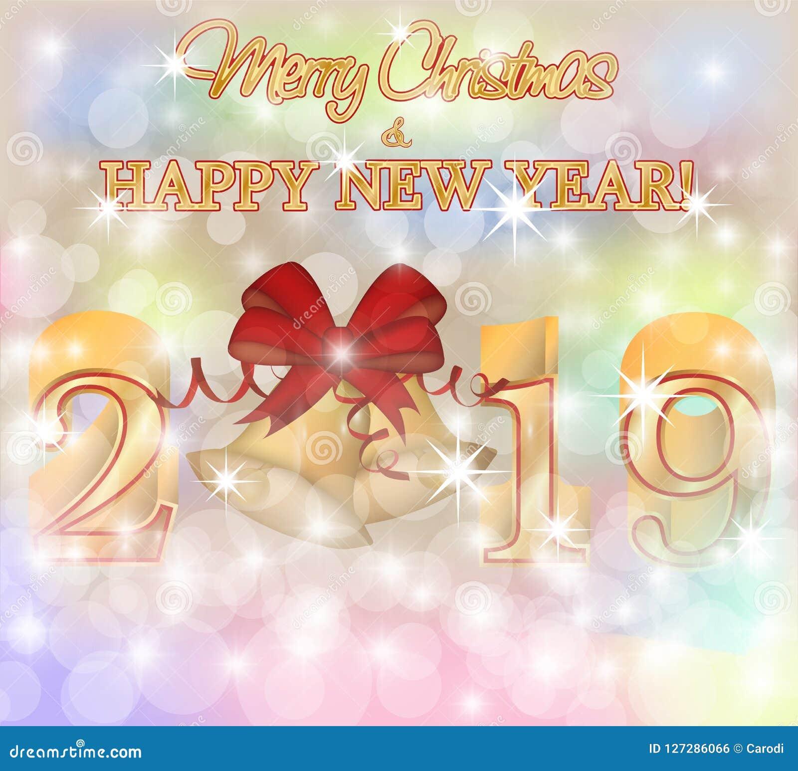 Merry Christmas Happy 2019 New Year Invitation Card Stock